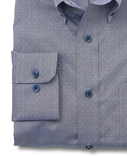 Classic Denim Dobby Blue Standard down Shirt Casual Row Men's M Savile Company Spot Fit Button qfwX0Sxcta