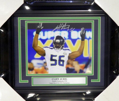 Cliff Avril Signed Framed 8x10 Photograph Seattle Seahawks MCS Holo Stock #107810 - Autographed Photo