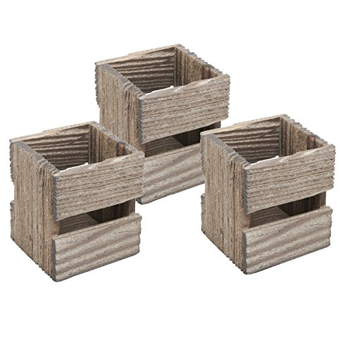MyGift Set of 3 Crate Design Pen & Pencil Holders, Wood Office Desk Storage Boxes by MyGift (Image #3)