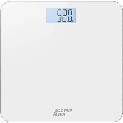 Active Era™ Báscula de Baño Digital Ultrafina con Sensores de Alta Precisión (stones/kgs/libras) - Blanco