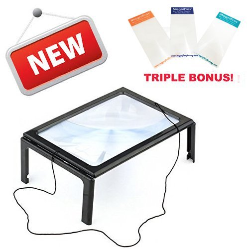 MagniPros® Hands-free Full Page Magnifier for Reading with LED Lights - Powerful 3x Magnification - Has Flip Out Legs That Can Stand Over Document - Comes with Neck Cord to Hang It Around Neck and 3 Bookmark or Credit Card Magnifiers of Your Choice (Come