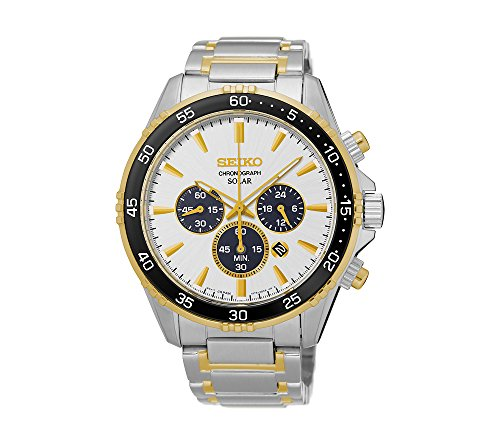 Seiko-Mens-Solar-Chronograph-Two-Tone-Watch-with-Black-Bezel