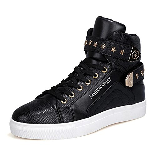 - PP FASHION Men's Korean Style High Top Platform Fashion Sneaker Sports Casual Shoes Black 7.5D(M)