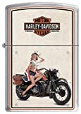Sexy Marine Pin Up on Harley Motor Cycle Chrome Zippo Lighter