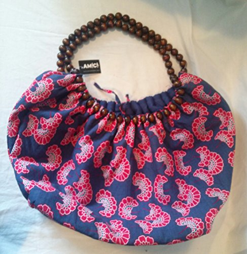 Amico Flower - Wooden Bead Handle Hippie Bag Wooden Bead Handle Hippie Purse Blue With Red and White Flowers NWT 27 Inches Handle to Bottom x 13 Inches x 6 Inches