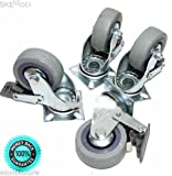 SKEMiDEX---SET OF 4 SWIVEL PLATE CASTERS 3'' WHEELS With BRAKES for MATERIAL HANDLING. Commonly used in both industrial and residential applications such as workbenches, tool carts, tool chest