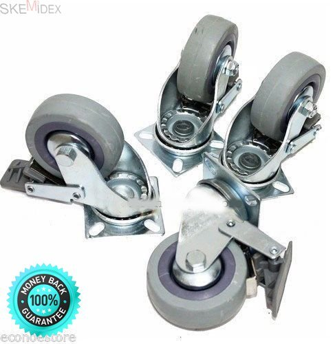 SKEMiDEX-Commonly used in both industrial and residential applications such as workbenches, tool carts, tool chest.SET OF 4 SWIVEL PLATE CASTERS 3'' WHEELS With BRAKES for MATERIAL HANDLING.