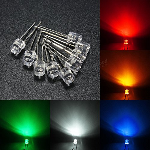 10pcs 5mm 5 Color Water Clear Flat LED Diodes Assortment DIY Light  Red