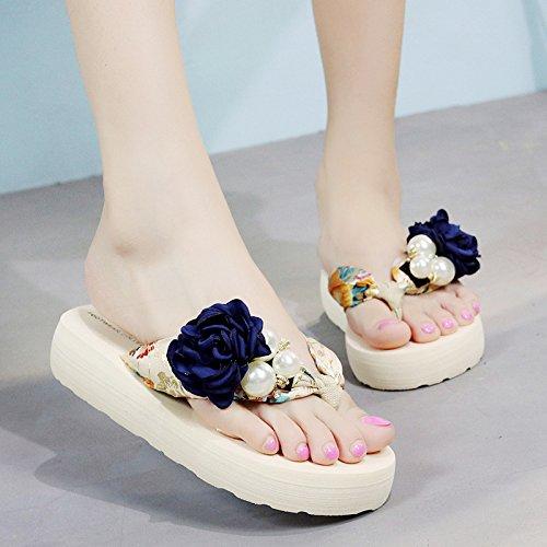 FLYRCX Sommer rutschig Blume Hausschuhe Damen Mode rutschfeste Clip flip flops Badeschuhe,38 EU, ein
