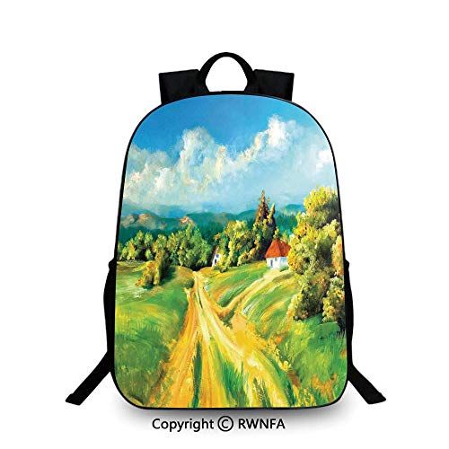 Lightweight Backpack-School Bag for Kid Girls Boys Colorful,Barren Path to Small Village Plenty of Plants and Trees Oil Painting Image School Backpacks For boys Green Yellow Blue]()