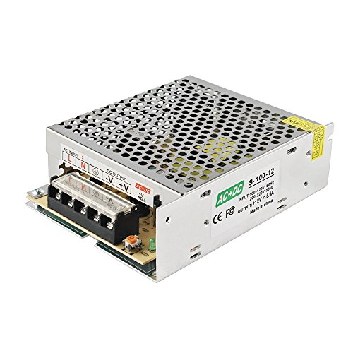 GALYGG AC 110V-220V to DC 12V 8.5A (100W) Universal Regulated Switching Power Supply,Transformer,for 2835 3528 5050 LED Strip Lights,CCTV,Radio,Computer Project,Light Fixtures Lighting