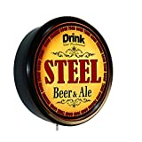 STEEL Beer and Ale Cerveza Lighted Wall Sign