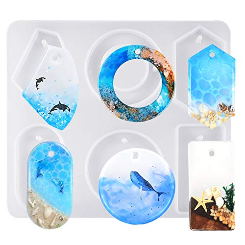 FUNSHOWCASE Large 6-Cavity Cabochon Gemstone Jewelry Silicone Mold with Hole for Polymer Clay Crafting, Resin Epoxy, Pendant Earrings Jewelry Keychain Making