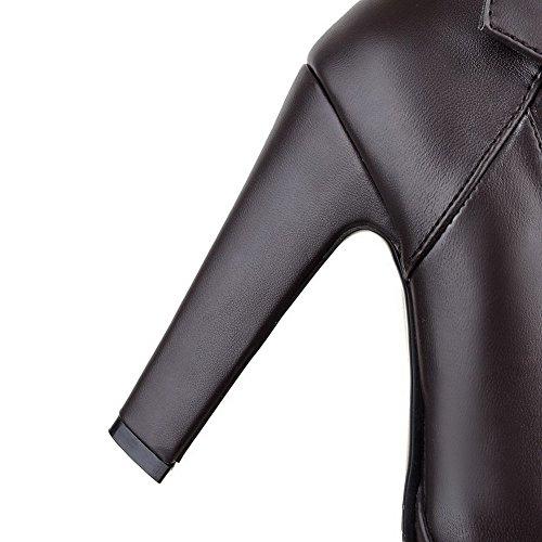 VogueZone009 Damen Rund Zehe Hoher Absatz Blend-Materialien Stiefel Braun-Schnalle
