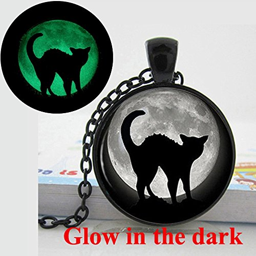 Pretty Lee Women Jewelry 2015 New Fashion Halloween Black Cat Full Moon Vintage Charm Necklace Glow In The Dark Necklace