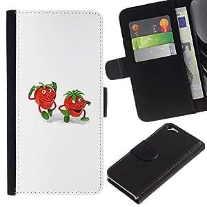 Planetar® Modelo colorido cuero carpeta tirón caso cubierta piel Holster Funda protección Apple (4.7 inches!!!) iPhone 6 / 6S ( Deny Strawberry Kids Drawing White )