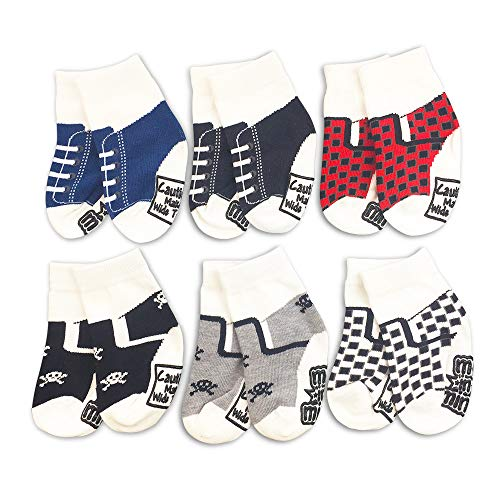 Baby Boy 6-Pair Gift Socks -Sneaker Set #1- Shoe Sneaker Cute Infant Newborn Fun, Assorted, 12-24 Months