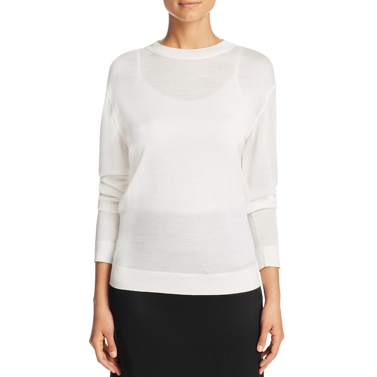 DKNY Womens Silk Mock Neck Casual Top Ivory P