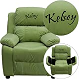 Winston Direct Kids' Series Personalized Deluxe Padded Avocado Microfiber Recliner with Storage Arms