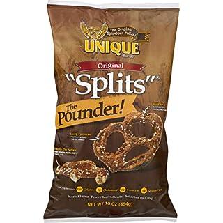 Unique Pretzels - Original Splits Pretzels, Delicious Vegan Snack Pretzels Individual Packs, Large OU Kosher Pretzels, 16 Ounce Bags, 12 Pack