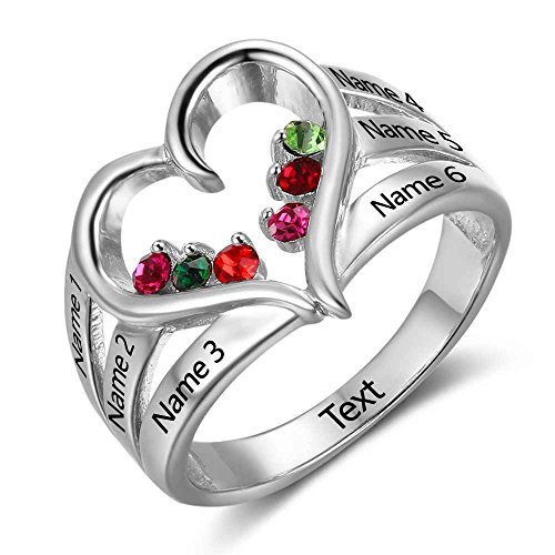 Diamondido Personalized Mothers Ring for 6 Children with 6 Simulated Birthstone Custom Any Name Heart Family Jewelry (9)