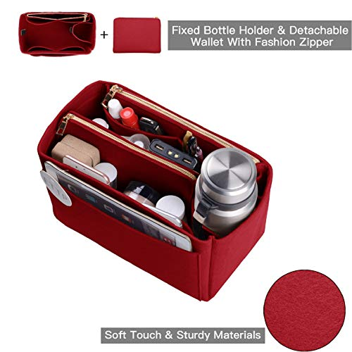 Purse Organizer, Felt Bag Organizer Insert For Speedy, Neverfull, Tote, Handbag, 6 Colors 3 Sizes (Medium, Red)