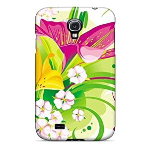 Fashion Tpu Case For Galaxy S4- Vector Butterfly Lilies X And Little Flowers Defender Case Cover