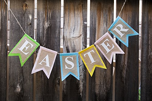 Easter Banner - Burlap Colorful Garland 72
