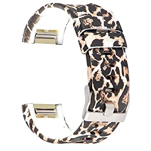 RedTaro Replacement Elastomer Wristband for Fitbit Charge 2, Large (6.5-9.0)-Inches, 207 - Animal Print