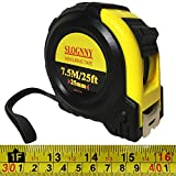 25 FT Tape Measure, SLOGNNY Measuring Tape with Impact Resistant Rubber Covered Case, Strong Lock, Compatible with Inch and Metric