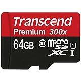 Transcend Premium Class 10 microSDXC 64GB Speicherkarte mit SD-Adapter (UHS-I, 45Mbps Lesegeschwindigkeit) [Amazon Frustfreie Verpackung]