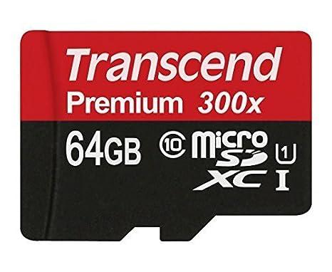 Transcend TS64GUSDU1E - Tarjeta de Memoria MicroSDXC de 64 GB (Adaptador, Clase 10, UHS-I, 45 MB/s), Negro y Rojo