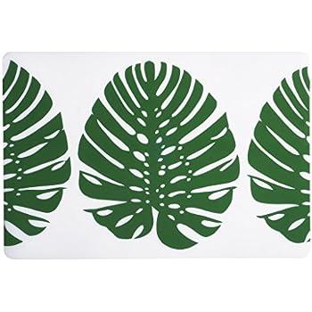 Amazon.com: Vinyl Placemats Table Mats Plastic Placemats Set of 4 Green Leaf: Home & Kitchen
