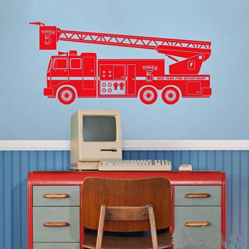 WSLIUXU Fire Truck Wall Sticker Car Wall Decoration Sticker Children Room Toy Decoration Vinyl Applique Boy Kindergarten Bedroom Boy Room Black 22 92x42cm (Eminem Smoking With The Best)