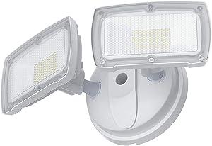 3000LM Dusk to Dawn Security Light, GLORIOUS-LITE 28W Flood Lights Outdoor, IP65 Waterproof, ETL Listed, 5500K White Light, Adjustable 2 Heads Wall Exterior Light for Backyard, Patio(No Motion Sensor)