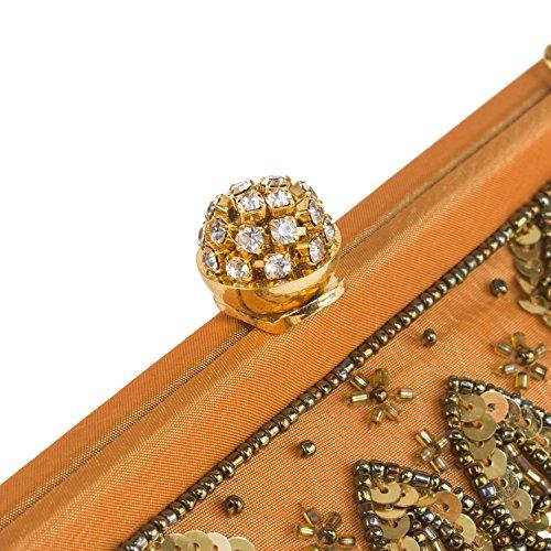 Farfalla 90383 - Bolso estilo sobre de satén mujer dorado - dorado
