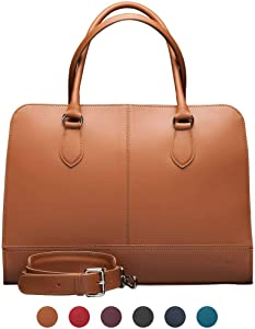 Su.B.dgn 15.6 Inch Laptop Bag with Trolley Strap for Women - Leather Briefcase, Handbag, Messenger Bag - Brown