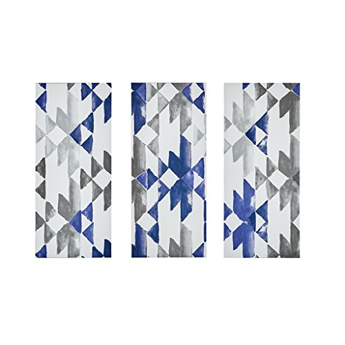 Ink+Ivy Navy Sierra Grey White Canvas Wall Art 15X35 3 Piece Multi Panel, Patterned Modern/Contemporary Wood Wall ()
