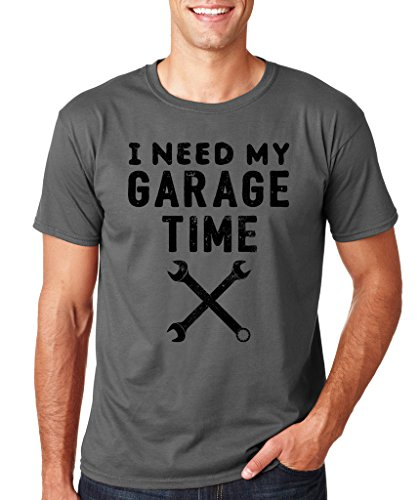 SignatureTshirts Men's I Need My Garage Time T-Shirt (Black Print) 2XL Charcoal