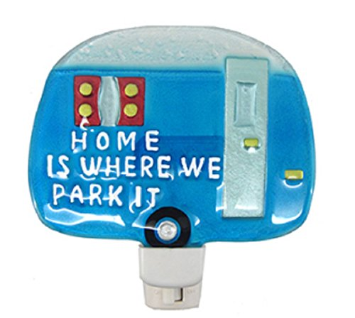 Painted Glass Camper Night Light 5 inches x 5 Inches (Home Is Where We Park - Is Where Bay Park