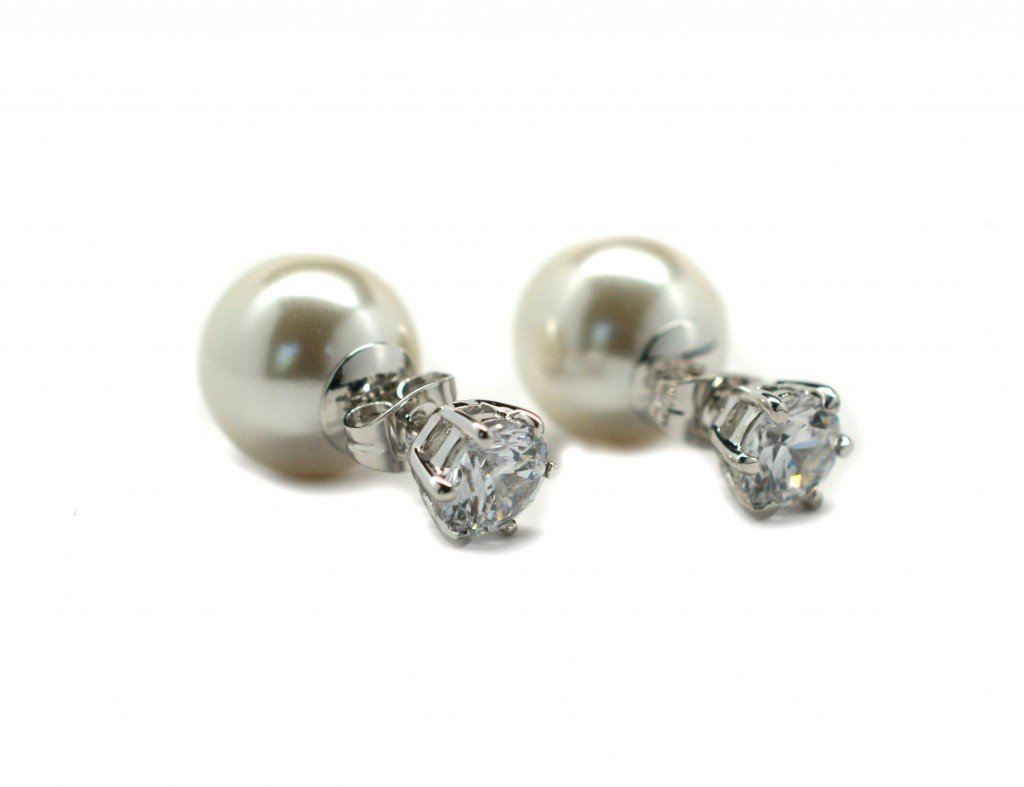 Miss Mozart CZ Stone Double Pearl Style Earrings Rhodium Plated