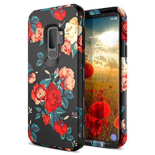 S9 Plus Case, WeLoveCase Galaxy S9 Plus Case with Floral Flower Design Back Cover Shockproof Three Layer Hybrid Armor Heavy Duty TPU Bumper Full Protective Case for Samsung Galaxy S9 Plus Red Rose