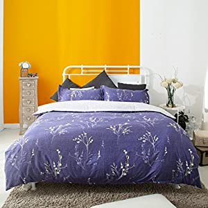 3 Piece Duvet Cover and Pillow Shams Bedding Sets, Cotton Hypoallergenic Breathable Soft Sheet Set Purple and Gray with Hidden Zipper and Tieback (Queen)
