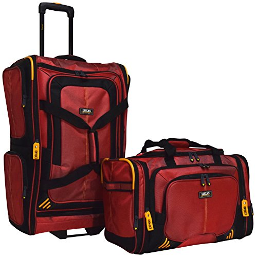 Lucas Accelerator 2-Piece Luggage Set: 26'' Wheeled Suitcase & 20'' Carry On Duffel Bag (Red) by Lucas