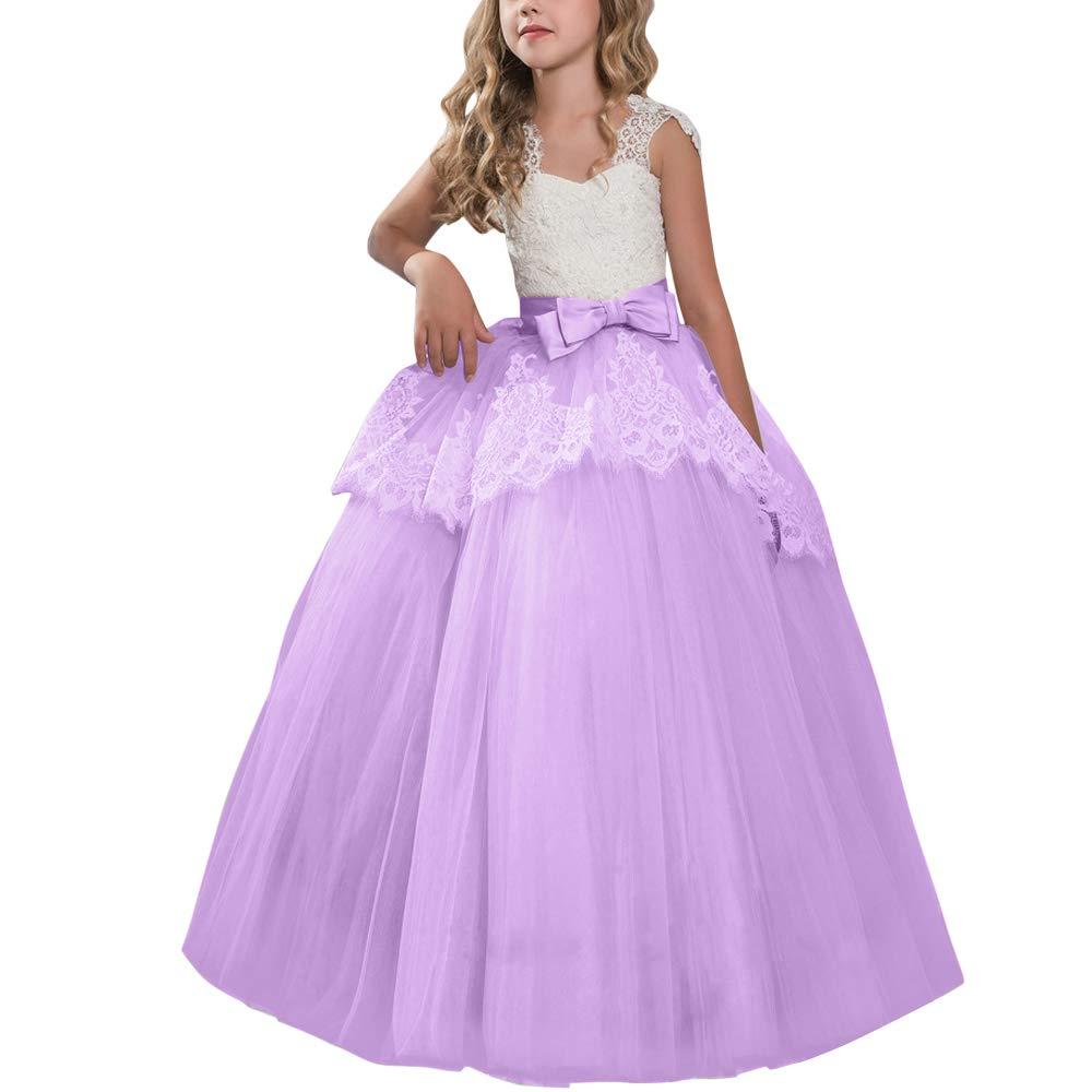 37b29ec02b OwlFay Big Girls Princess Pageant Long Lace Dress Kids Wedding Communion  Ball Gown