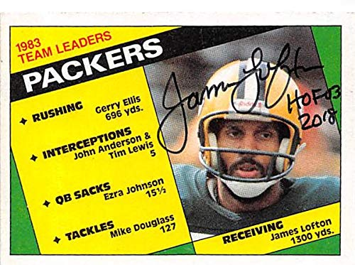 (James Lofton autographed football card (Green Bay Packers Hall of Fame) 1983 Topps #263 inscribed HOF 03)