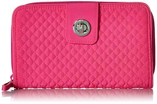 Vera Bradley Iconic RFID Turnlock Wallet, Microfiber, Rose - Womens Wallet Microfiber