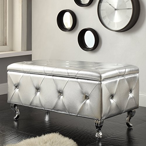Christies Home Living AC-BED16-SIL-BENCH Crystal Tufted Storage Bench, Silver
