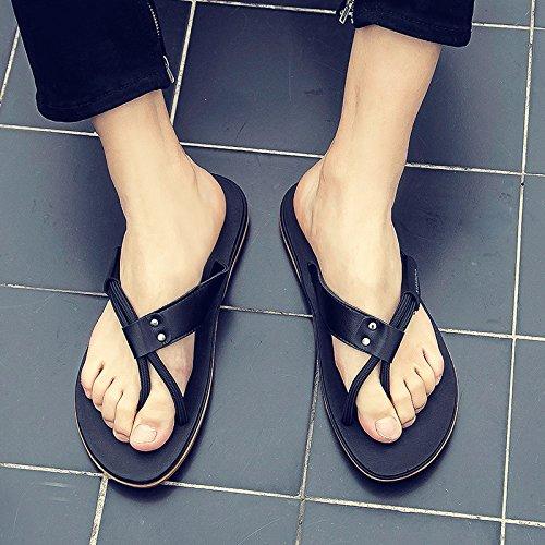 AIHUWAI Sandalen Männer Sandalen Hausschuhe Herren Sommer Flip-Flops Herren Sandalen & Hausschuhe Sommer Outdoor Rutschfeste Strand Schuhe Flossen schwarz