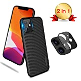 [Lens Protector with Case] TopACE for iPhone 11 Camera Lens Protector with Built-in iPhone 11 6.1' Case Upgraded HD [Anti-Scratch][Easy to Install] Back Camera Lens Screen Tempered Glass Cover(Black)